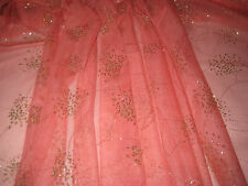 """CORAL WITH SILVER FOIL FIREWORKS BEADS DESIGN FABRIC 60"""" W BY THE YARD"""