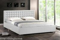 Modern White Faux Leather Queen King Platform Bed Frame Tufted Padded Headboard