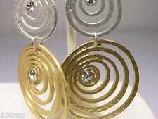 Dangle Earrings Giant Triple Spiral Rhinestone accent   FREE SHIP in U.S.