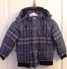 BURBERRY Boys Checkered Winter Jacket Blue With Detachable Hoodie SIZE 6