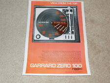 Garrard ZERO 100 Turntable Ad, 1 pg, 1973, Article, Color, NICE!