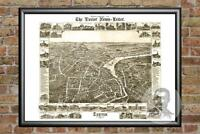 Old Map of Exeter, NH from 1877 - Vintage New Hampshire Art, Historic Decor