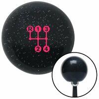 Pink 4 Speed Shift Pattern - Dots3n Black Metal Flake Shift Knob M16x1.5 Insert