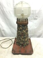 Vintage Nautical Wood and Stone Light House Table Lamp 18in Tall Tramp Art