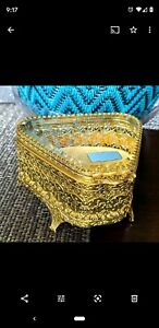 Ormolu Filigree vintage Footed jewelery Box Beveled Glass cherubs