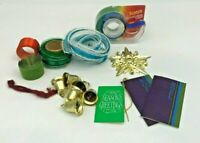 Vintage Christmas Gift Wrap Ribbon Decorations Tags Tie Ons Gold Package Bells