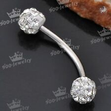 1pc Stainless Steel Clear Czech Crystal Curved Barbell Eyebrow Bar Ring 18G
