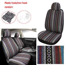 Car 2 Front Seats Cover Set Four Season Universal Durable Linen Colorful Strips