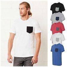Mens Pocket T-Shirt Jersey Short Sleeve Contrast Pocket Tee Top S – 2XL Free PnP