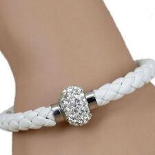 Bracelet en cuir tressé avec Strass Femme Fille Ado Blanc