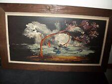 Original Vintage Painting Signed GELF Custom Mission Style Oak Frame Art Deco