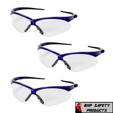 JACKSON NEMESIS SAFETY GLASSES 47384 CLEAR ANTI-FOG LENS BLUE FRAME Z87+ (3 PR)