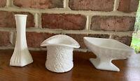 Lot 3  Pieces Milk Glass E. O. Brody. Fenton? Top Hat Daisy Vase Dish Diamond