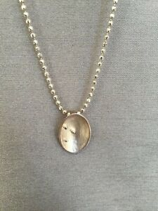 925 Silver Retro Modernist Abstract Danish Style Pendant & Bead Chain Necklace