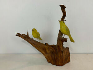 Vtg Harry Meyer Folk Art Style Painted 2 Yellow Canary Birds on Wood Branch