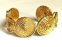 Vintage 1960s Gold Spiral Cuff Statement Bracelet   Etruscan Revival
