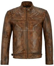 Brad Pitt Men Real Leather Chestnut  Quilted Shoulder Biker Style Jacket 1201