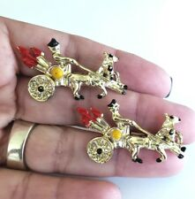 Vintage Pair of 2 Gladiator Horse Chariot Gold Tone Enamel Scatter Pins