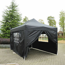 3mx3m Pop up Gazebo Canopy Party Tent Marquee Outdoor Garden With Bag Black