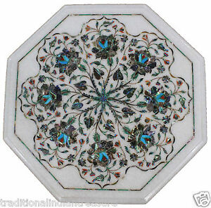 "12"" Marble Coffee Paua Shell Gemstone Inlay Table Top Marquetry Home Decorarive"