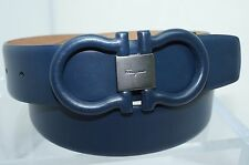 New Salvatore Ferragamo Men's Belt Blue Gancini Size 32 Adjustable