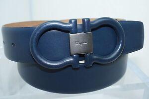 New Salvatore Ferragamo Men's Belt Blue Gancini Size 32 Adjustable Leather