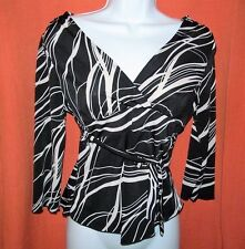 sexy form-fitting Black & white blouse 3/4 sleeve front tie MOA MOA Womens M Med