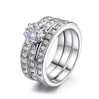 3pcs Stainless Steel Women Men Wedding Engagement Band Zircon Set Rings