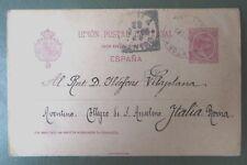 Vintage Postal Stationery, Tarjeta Postal, Spain to Rome, Italy 1900