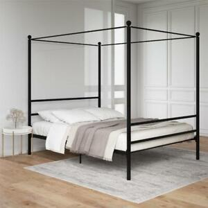 Canopy Bed Frame Queen Full Size Metal Platform Beds With Headboard Slatted NEW
