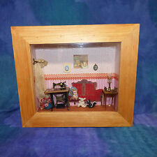 Vintage Artist Victorian Doll House Dollhouse Sewing Parlor Room Box MCA