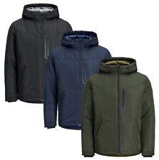 JACK & JONES Mens Quilt Hooded Jacket Light Padded Warm Breathable Outdoor Coat