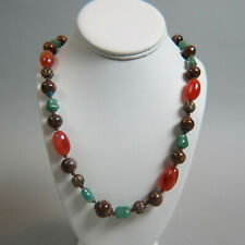 Chinese Stone Bead Necklace with Enamel & Silver Pieces