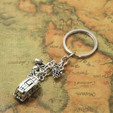 Camping Keychain, Trailer RV Caravan charm keyrings in silver tone