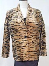 Harve Benard Brown Animal Print Velour Long Blazer Size 10P 2 Pockets 1 Button