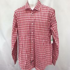 Ecko Unltd Shirt Button Long Sleeve Mens Red Plaid Size L Large Cotton NWT