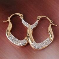 Exquisite Women 18K Gold Dangle Hoop Earrings For Romantic Valentine's Day Gifts