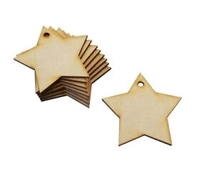 Wooden Star Craft Shapes 10 x 85mm Wooden Star Craft Shapes With Hanging Hole