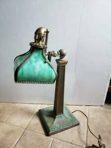 OLD, VERDILITE EMERALITE,  BANKERS LAMP UNTOUCHED COMPETELY ORIGINAL AS FOUND