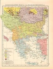 1893 antique map-Ethnographic Carte de la PÉNINSULE DES BALKANS