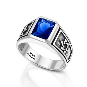 Sterling Silver and Royal Blue Zircon, Men's Star of David College Ring