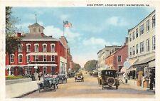 D68/ Waynesburg Pennsylvania Pa Postcard c1910 High Street West Autos Stores