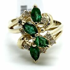 14k Emerald And Diamond Cluster Ring. May And April Birthstone. Marquise Emerald