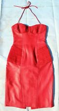 AMAZING Vintage Michael Hoban North Beach Leather Red Leather Dress - Size P