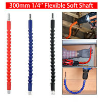 "12"" 300mm Flexible Flexi 1/4"" Hex Screwdriver Extension Bar Drill Driver Shaft"