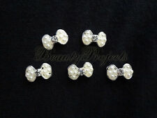(5pcs) nail art pearl 3D white bow rhinestone charms acrylic gel designs A175