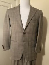 BORRELLI Wooll Suit, Side vents 3 Roll-2 coat Flat Frt Pants Suit 38S