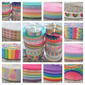 "Rainbow Hearts Grosgrain Printed Ribbon 25mm Width 1"" Birthday Cake Hair Bows"