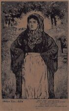 """IRELAND ~ WOMAN - """"COLLEEN"""" & VERSE, POSTCARD MADE FROM PEAT MOSS ~ c. 1904-14"""