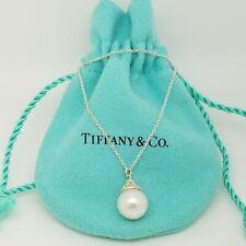 "Tiffany&Co. Sterling Silver Ziegfeld 10mm Pearl Drop Pendant Necklace 16"" Pouch"